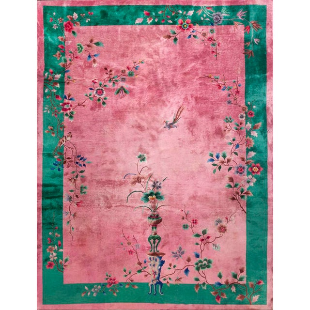 "Textile 1920s Antique Chinese Art Deco Rug-8'10"" X 11'8"" For Sale - Image 7 of 7"