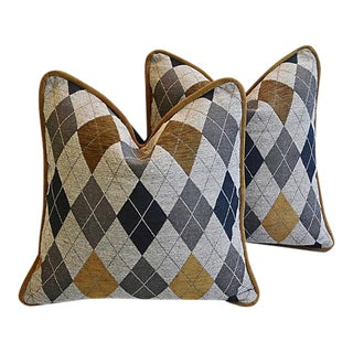 Designer Woven Scottish Argyle Design Feather/Down Pillows - Pair For Sale