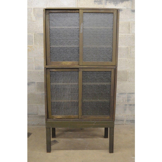 Remington Rand Industrial Green Steel Metal Stacking Barrister Storage Cabinet A For Sale - Image 11 of 12