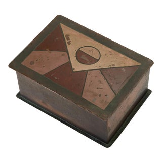 Handmade Copper Box With Painted Geometric Pattern by Craftsman Studios For Sale