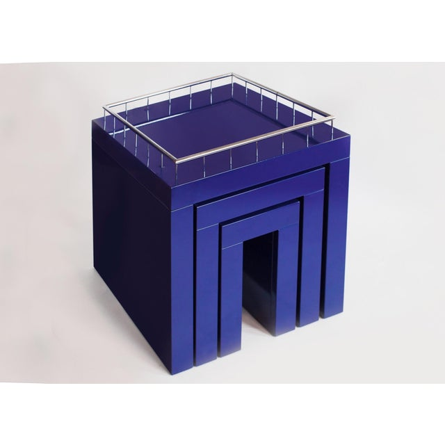 1970s 1970s Marco Zanini Memphis Group Blue Enameled Steel Nesting Tables - Set of 3 For Sale - Image 5 of 6