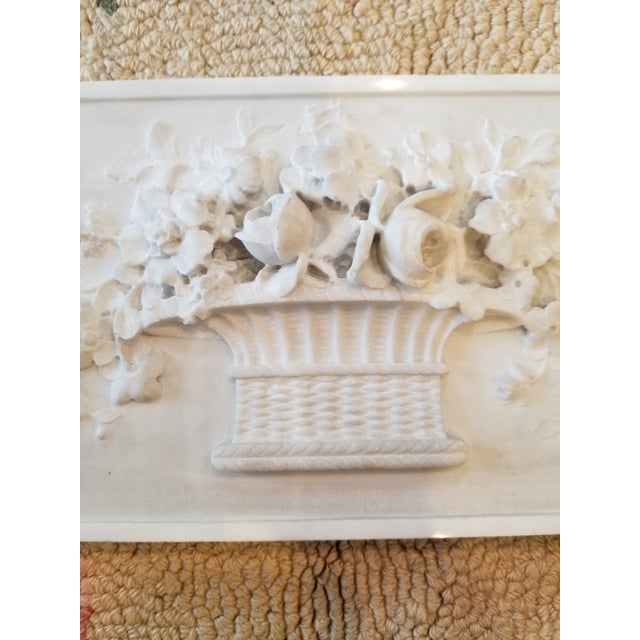 Carved Marble Floral Basket Panel For Sale In San Antonio - Image 6 of 8