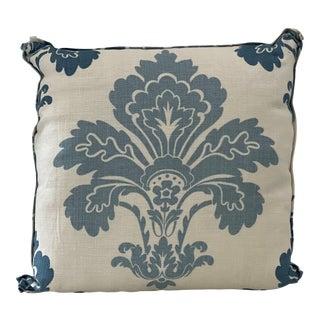 Cream & Blue Blue Fleur De Lis Linen Pillow For Sale