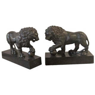 19th-20th Century Pair of Bronze Full Bodied Lion Bookends on Pedestal Bases For Sale