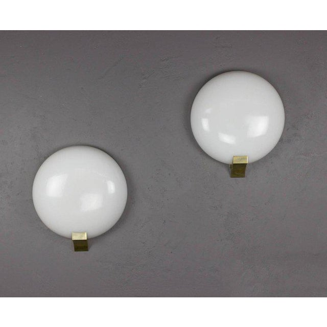 Metal Pair of French Opaline Sconces by Perzel For Sale - Image 7 of 12