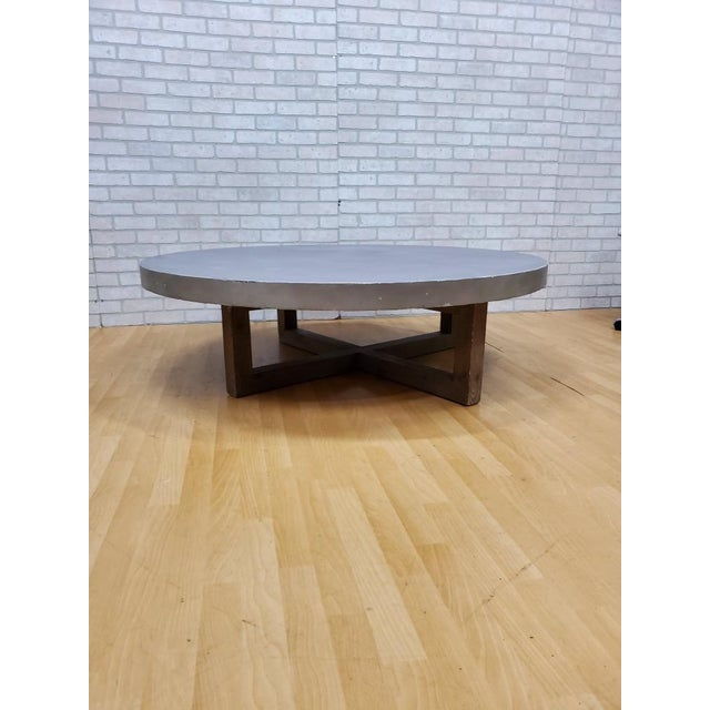 Gray Restoration Hardware Heston Round Coffee Table For Sale - Image 8 of 8