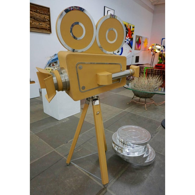 1980s Leatherbound Movie Camera and Film Cans - Set of 7 For Sale In Palm Springs - Image 6 of 7