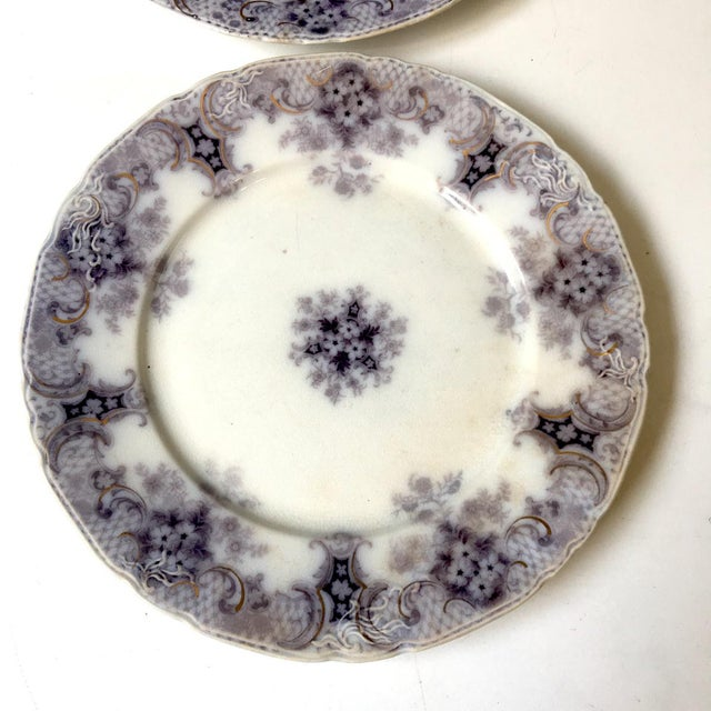 English 1900s Wood and Son Keswick Purple Plate Collection - 4 Pieces For Sale - Image 3 of 8