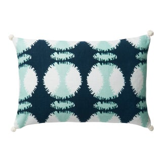 """Justina Blakeney X Loloi Teal / White 13"""" X 21"""" Cover with Down Pillow For Sale"""