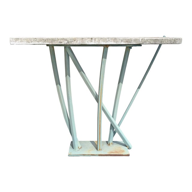 Iron and Cast Stone Console Table by Joseph Wesner For Sale