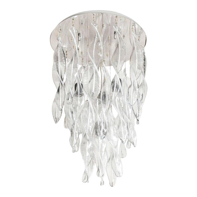 Italian Handblown Murano Glass Vortex Chandelier For Sale
