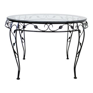 Vintage Wrought Iron Meadowcraft Iron Outdoor Patio Round Dining Table For Sale