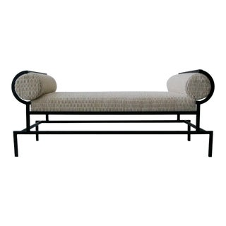 Mid Century Sculptural Architectural Iron Bench For Sale
