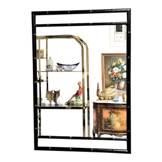 Mid Century Modern Black Bamboo Mirror For Sale