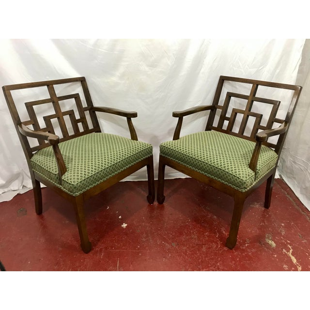 MCM Walnut Chippendale Interpretation Chairs a Pair For Sale - Image 6 of 6