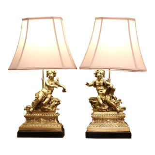 Pair of 19th Century French Bronze Cherubs Sculptures Mounted as Table Lamps For Sale