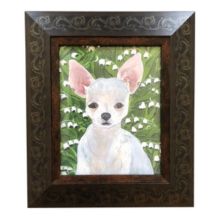 White Chihuahua With Lilly of Valley Dog Print by Judy Henn For Sale