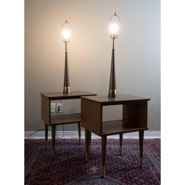 Vintage Mid-Century Modern Lamp Side Tables - A Pair - Image 2 of 5