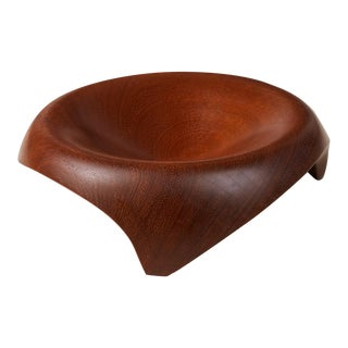 Sculpted Turned Wooden Bowl For Sale