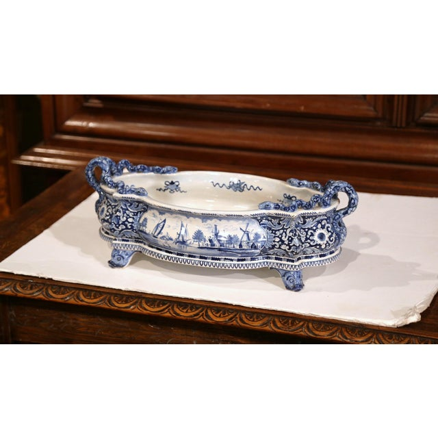 French Early 20th Century French Oval Hand-Painted Blue & White Jardinière For Sale - Image 3 of 11