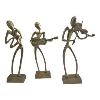 1960s Brutalist Brass Figures Musicians - Set of 3 For Sale