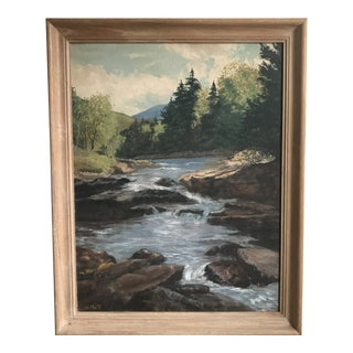 Vintage River & Forest Painting