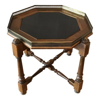 20th Century Gothic Ethan Allen Oak and Black Hexagonal Folding Side Table For Sale