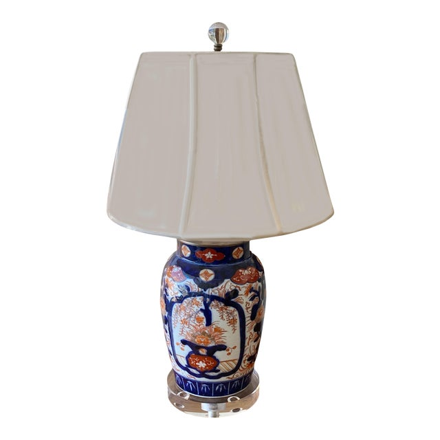 Imari Porcelain Lamp and Acrylic Base For Sale