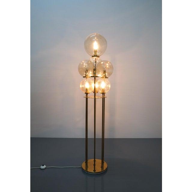 Gold Glashütte Limburg Brass Glass Floor Lamp, Germany 1960 For Sale - Image 8 of 10