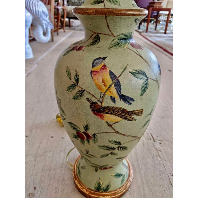 Traditional Bradburn Celadon Green Table Lamps With Birds and Foliage - a Pair For Sale - Image 3 of 13