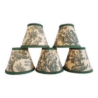 Vintage Green French Toile Chandelier Shades-Set of 6 For Sale