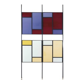 Colourful Mid-Century Modern Italian Partition Wall or Room Divider For Sale