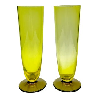 1960s Mid-Century Modern Murano Yellow & Topaz Crystal Stemless Champagne Flutes - a Pair For Sale