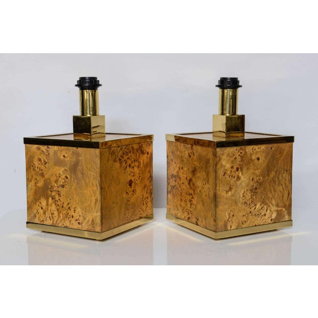 Mid-Century Modern Burlwood and Brass Lamps by Romeo Rega For Sale - Image 3 of 10