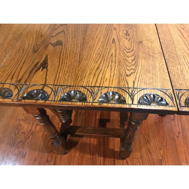 Vintage Carved Top Drop Leaf Table For Sale - Image 10 of 13