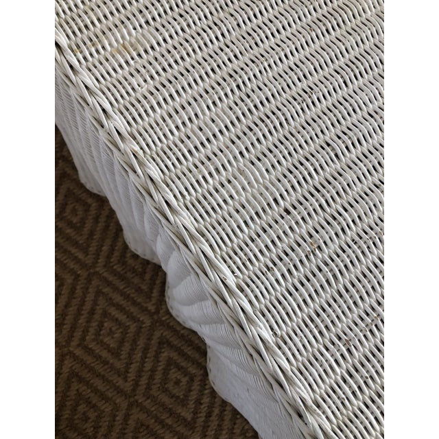Vintage White Wicker Ghost Trompe L' Oeil Console For Sale - Image 10 of 13