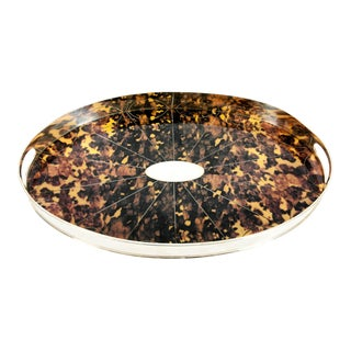 English Plated Tortoise Shell Interior Barware Footed Oval Tray For Sale