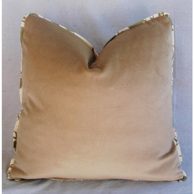 "21"" Designer Brule Fabric Randall Damask Feather/Down Pillows - Pair For Sale - Image 9 of 11"
