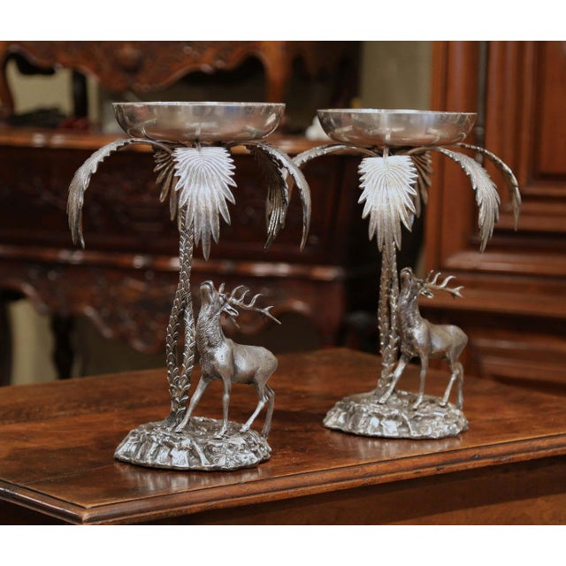 Pair of Early 20th Century Silvered Bronze Centerpieces With Deer Sculpture For Sale In Dallas - Image 6 of 12