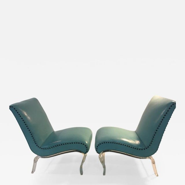 Pair of Grosfeld House Graceful Lucite Lounge Chairs Designed by Lorin Jackson For Sale - Image 9 of 9