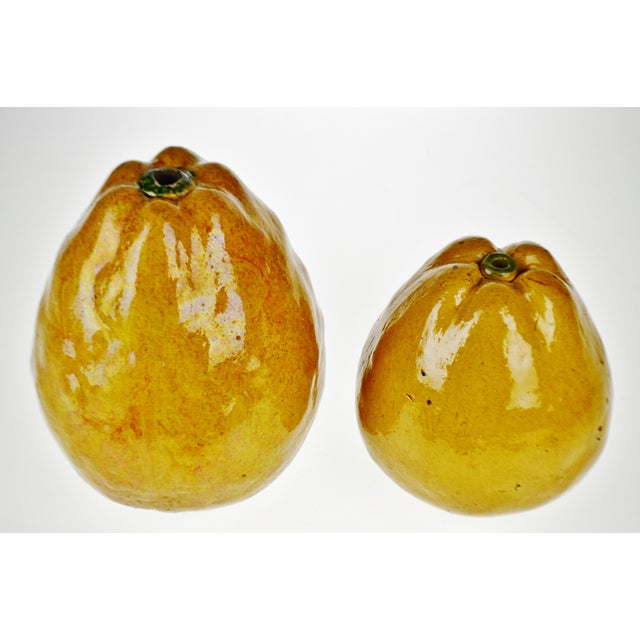 Asian Vintage Art Pottery Ceramic Asian Pears - A Pair For Sale - Image 3 of 12