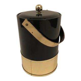 Mid-Century George Briard Black Plastic and Brass Ice Bucket