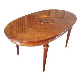 French Satinwood and Floral Marquetry Dining Table