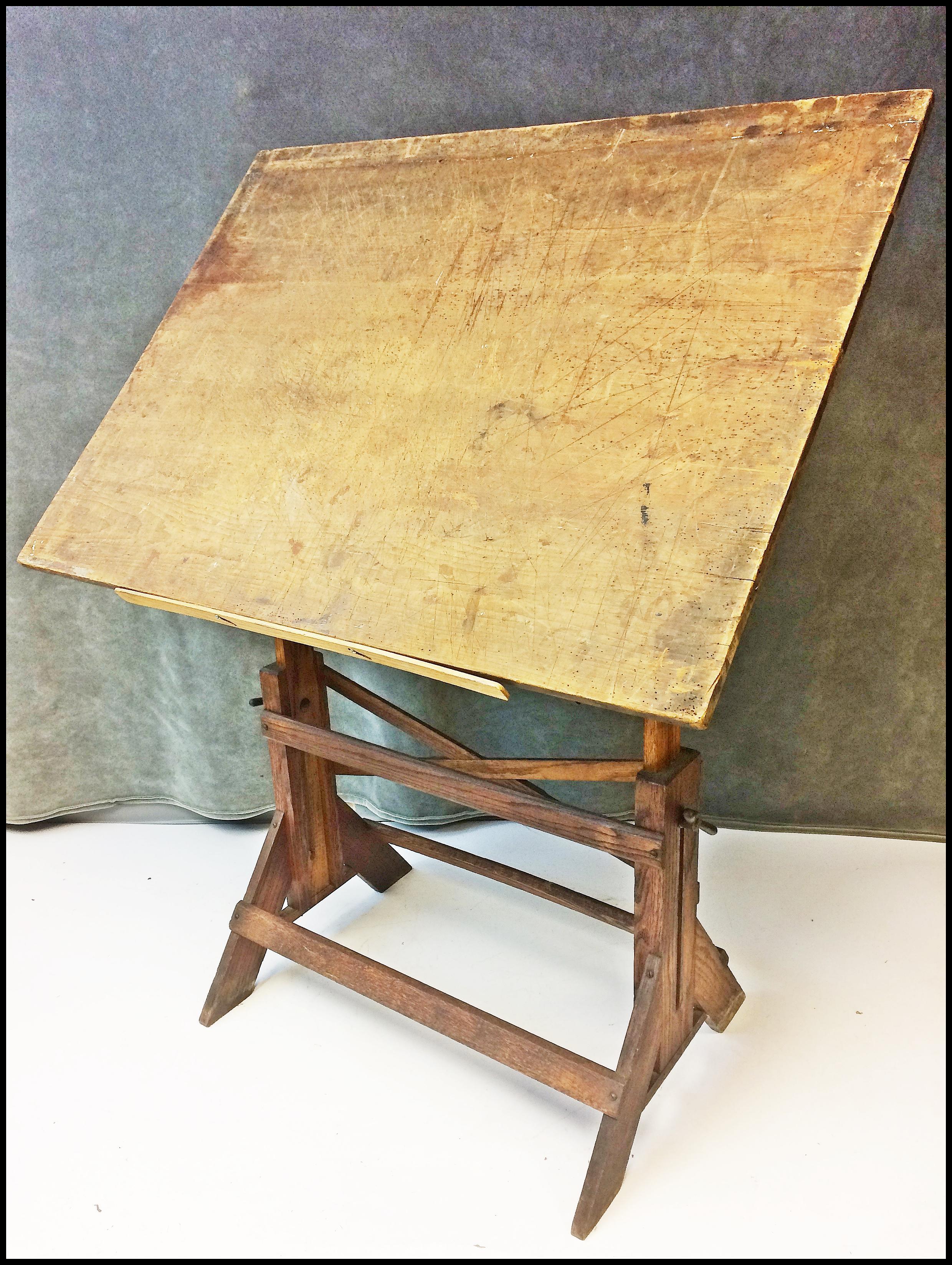 Vintage Industrial Tilting Wood Drafting Table   Image 11 Of 11