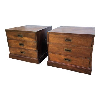 Vintage Campaign Side Tables - a Pair For Sale