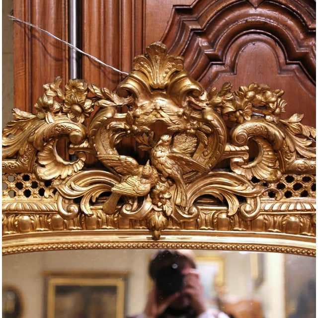 Late 19th Century 19th Century French Louis XV Carved Giltwood Mirror With Bird Decor For Sale - Image 5 of 10
