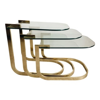 Milo Baughman Brass & Glass Nesting Tables - Set of 3 For Sale