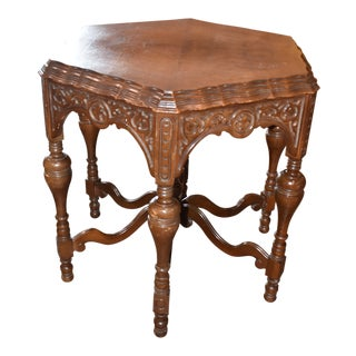 Antique Walnut Carved Inlay Top Table For Sale