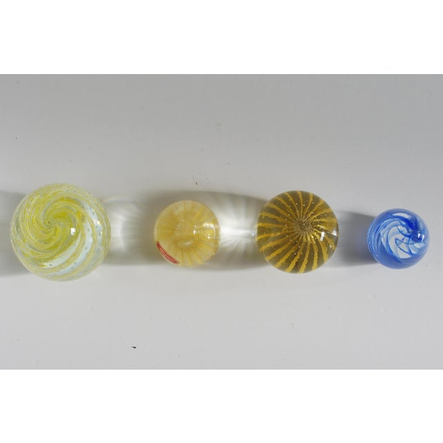 Italian Collection of Four Italian Murano Glass Paperweights With Gold and Stripes For Sale - Image 3 of 7