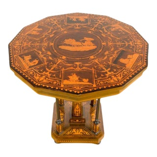 1885 Dutch Marquetry Walnut Inlay Tilt Top Table For Sale
